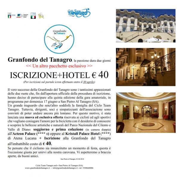 Granfondo del Tanagro, la passione dura due giorni << Un altro pacchetto esclusivo >> ISCRIZIONE+HOTEL € 40 (Per iscrizioni sul portale icron effettuate entro il 30 aprile)