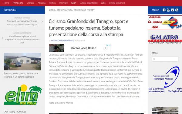 Articolo estratto da Italia2Tv: Ciclismo: Granfondo del Tanagro, sport e turismo pedalano insieme. Sabato la presentazione della corsa alla stampa